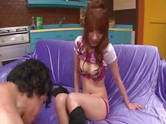 Ayaka Fujikita is a red-haired Japanese chick who gets fucked on a purple sofa