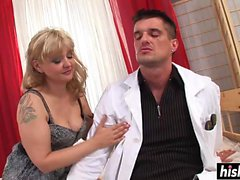 Horny doctor makes a hot babe happy