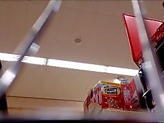 Milf de supermercado Upskirt Branca Calcinhas