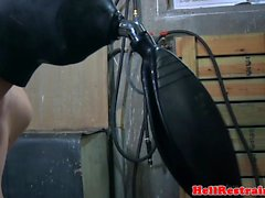 Breath play hooded sub cattle prodded