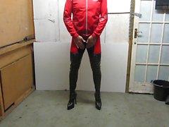 Mera av min i läder färg snör åt upp thighboots