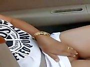 Asian shows girl fingering in car