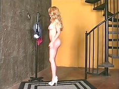 Blonde strips down to spread her pussy and ass