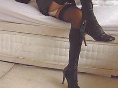 Schwarze Leder Strumpfhosen und Strumpfhosen