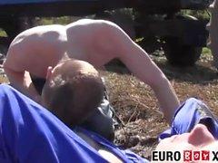 Sweet young euro farm boys fucking hard on a haystack