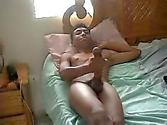 Huge black cock wanking on webcam