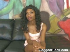 Dirty Black Ghetto Slut Gets Mouth Punished With White Cock