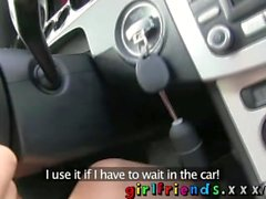 Girlfriends Lesbians make hot sextape in a car