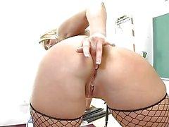 Horny blonde teacher masturbating in sexy lingerie