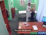 Fake Hospital Blonde patient gives blowjob before being fucked by doctor