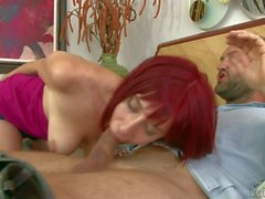Young lusty redhead Sasha doeas amazing deep throat