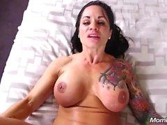 Big Tits Tattooed Latina Milf Fucks Hard POV