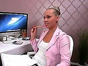 Female boss vibed and banged in office