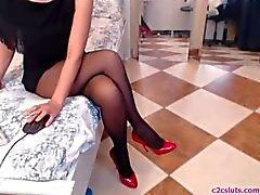 Beine in Strumpfhosen Webcam zeigen - Facetime Freundin