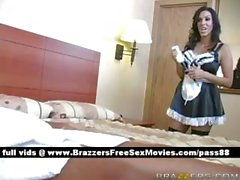Horny brunette maid arrives at the house where she works