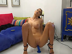 Hawt romanian brunette hair rides sex-toy two