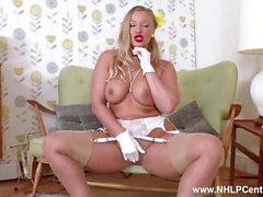 Big tits blonde Beth Bennett strips in retro lingerie wanks in nylons heels