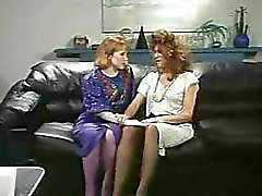 Retro Office Lesbians Pussy and Ass Licking Strap-On