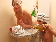 di due lesbiche Breakfest in cucina