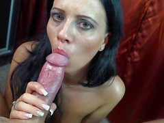 Teasing Tongue Blowjob con Precum ed Eiaculazione