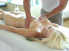 Darcie Belle takes a load after a massage