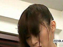 Subtitled bottomless Japanese newhalf teacher blowjob