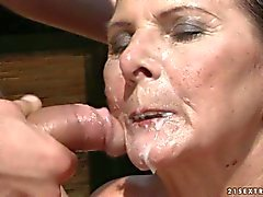 Raunchy granny gets her face splattered with cock juice