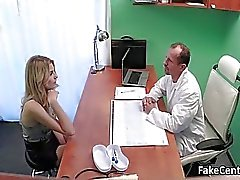 Doctor fucks blond beauty in office