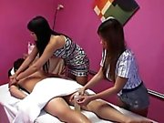 Asian masseuses have threeway fun with client