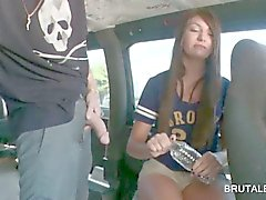 Teen girl talked into a good fuck in the sex bus