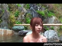 Naked redhead jap sex siren boob sucked in a pool outdoor