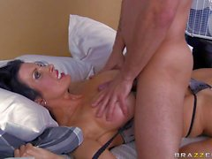 Shay Sights with massive tits rides on Pete to orgasm