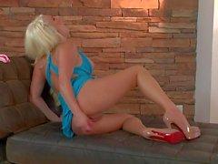 Amazing blonde babe Spencer Scott masturbating with a toy