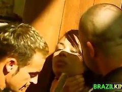 Slut brasiliani in un Ambientazione esterna Terzetto