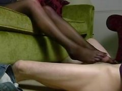 Sniffing and nylon footjob