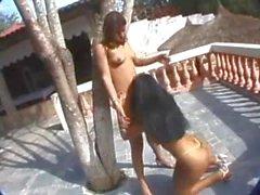 Dos polluelos del morenas divierten el culo cerca de la piscina