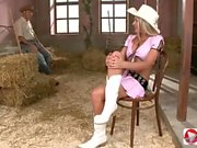 Cowboys caught a woman and gave her a double anal sex with