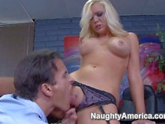 Horny blonde secretary Dylan gets some overtime