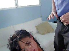 Dark haired bitch Dana Vespoli gags on Cock