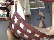 Three femdom dominatrixes strapon gang bang and face sit male slave