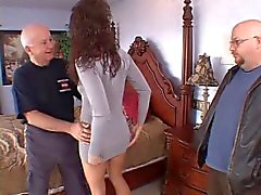 Old husband watches as his wife gets her pussy licked and fucked from behind