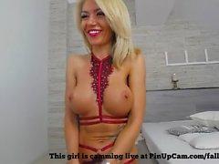 Stunning Blonde MILF Fingering Herself....