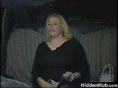 Ugly And Horny Blonde In The Back Of A Taxi