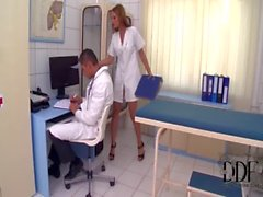 Sexy Nurse Abbie Cat Stuffs Her Mouth With Two Huge Cocks