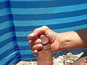 wife beach handjob cumshot