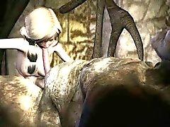 Astuto em 3D loira de banda desenhada chupando em galo difícil do troll