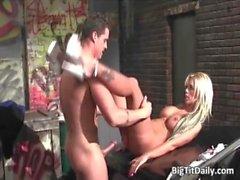 Stunning blonde babe with big tits sucks