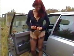 hot mature fucking car gearshift pissing and handjob