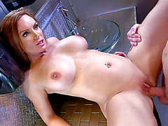 Large boobed Diamond Foxxx having steamy sex in the latrine