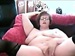 Chubby Amatören farmor Masturbating på Webcam